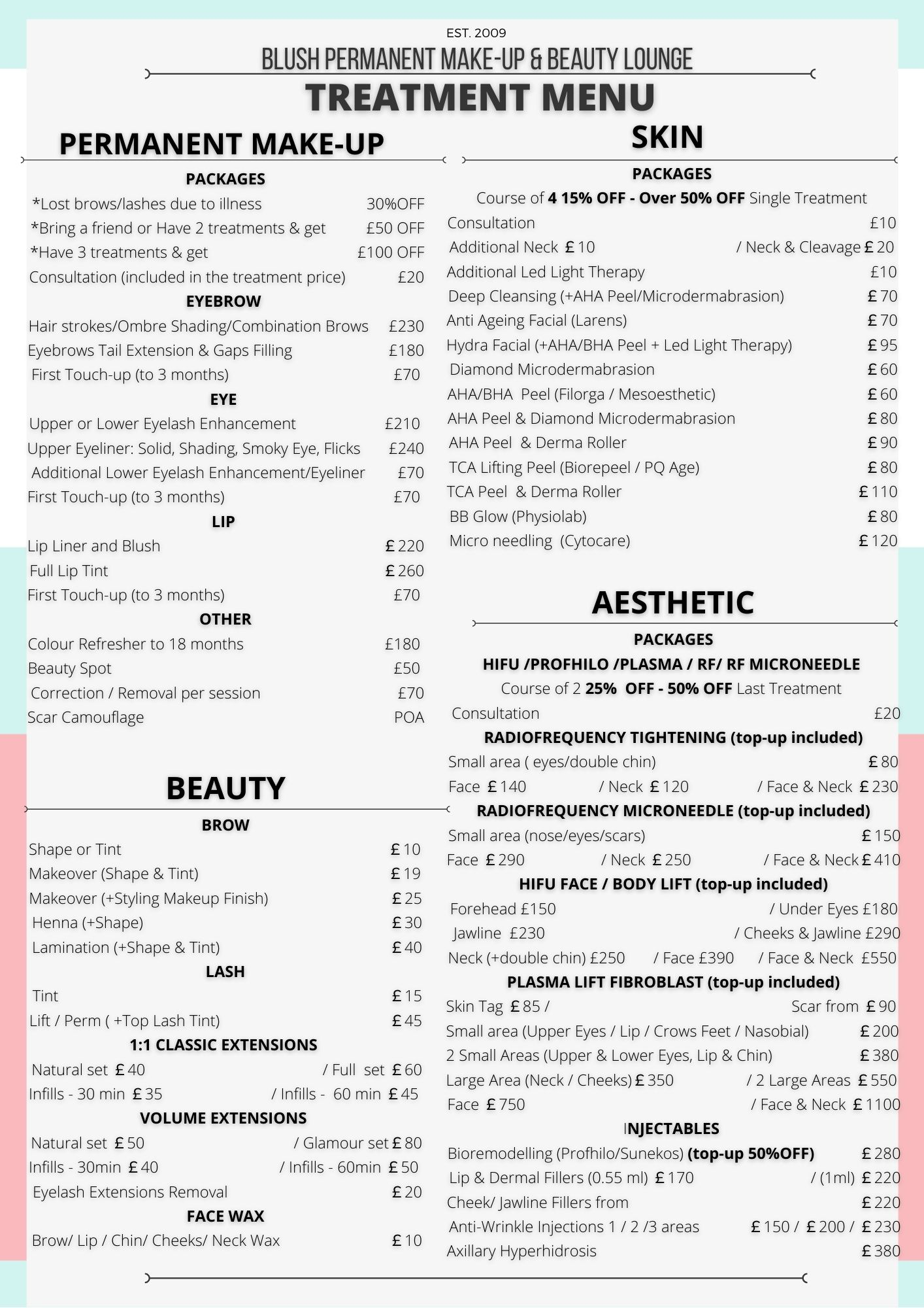 price list blush